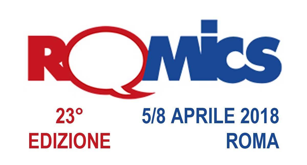logo dell'evento, la scritta Romics con la -o- che è una nuvoletta