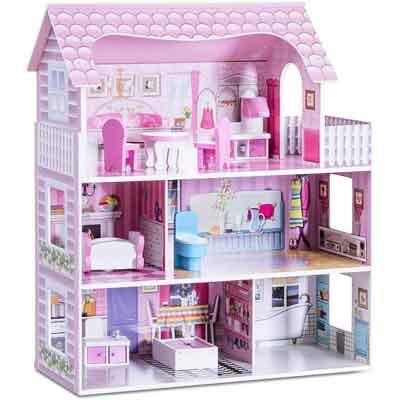casa bambole legno rosa